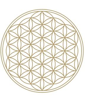 SAMOLEPKA KVĚT ŽIVOTA zlatá 1 ks květ života,energie,očištění,voda,harmonizace,šungit